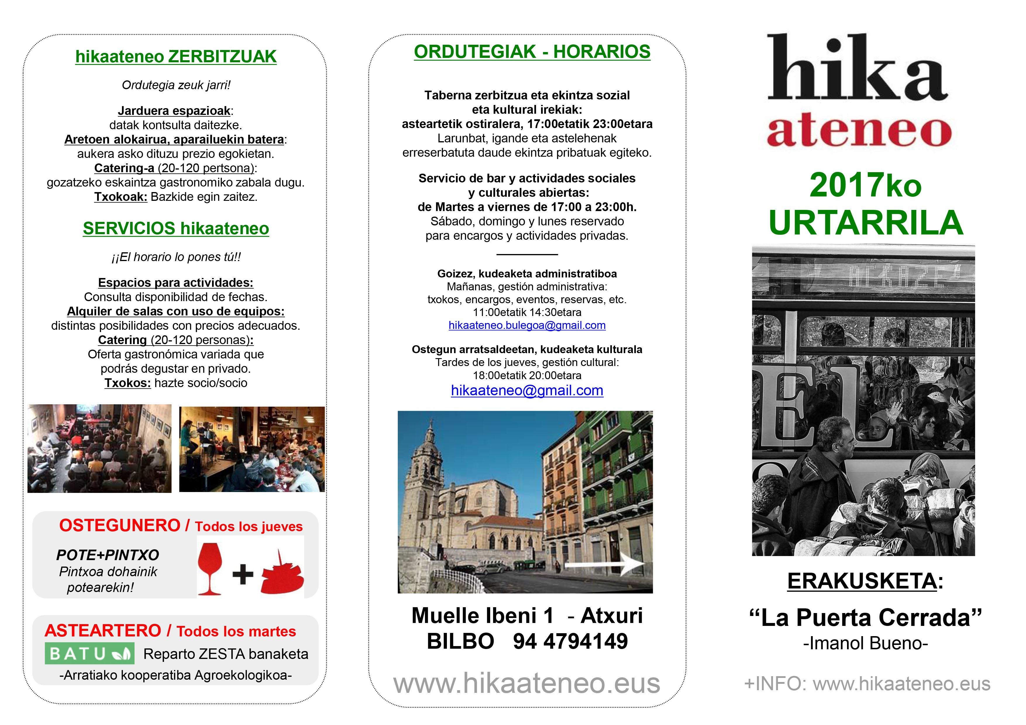 Agenda Hika Ateneo Bilbao Urtarrilak 2017 Enero