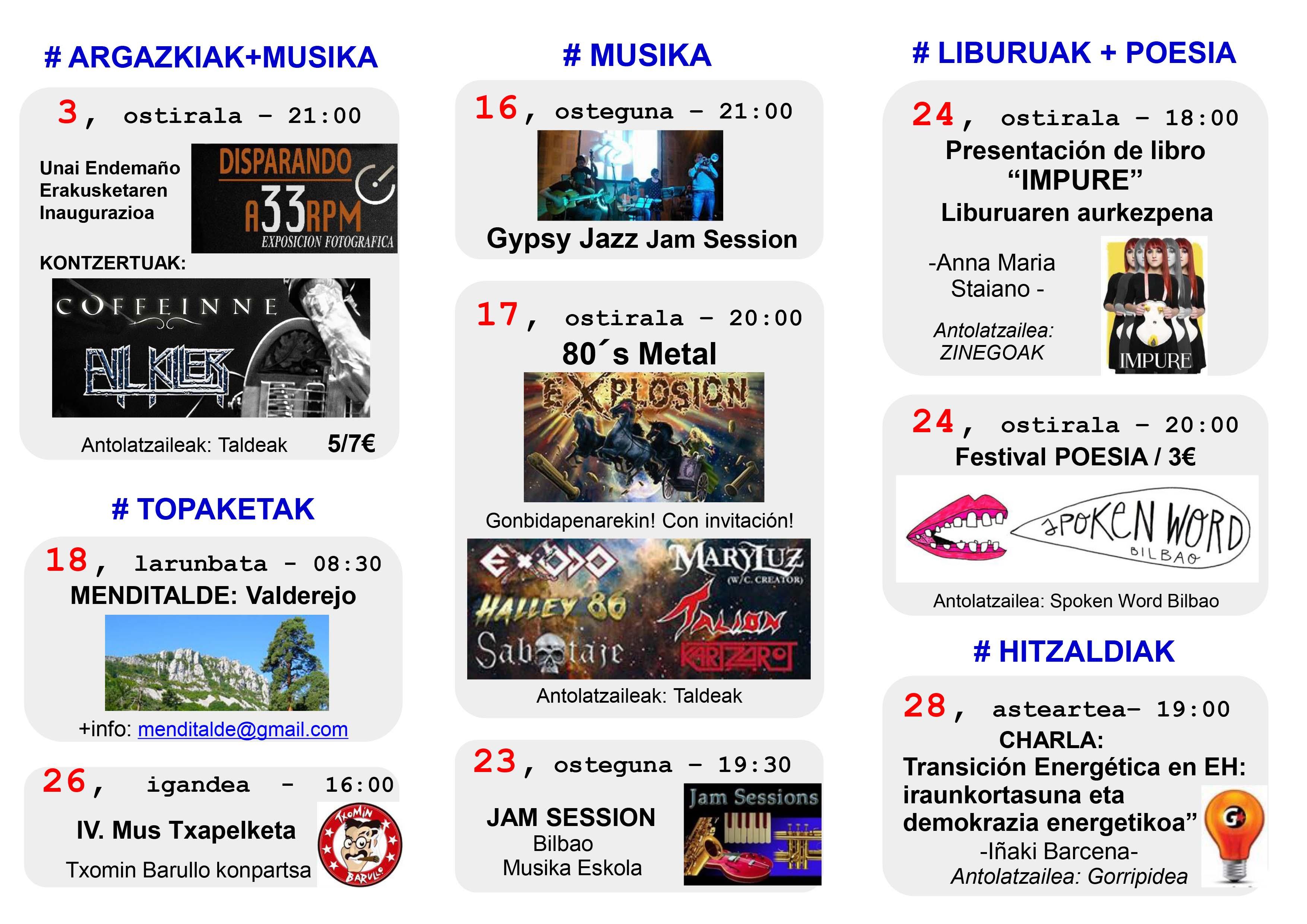 Agenda Hika Ateneo Bilbao Otsailak 2017 Febrero