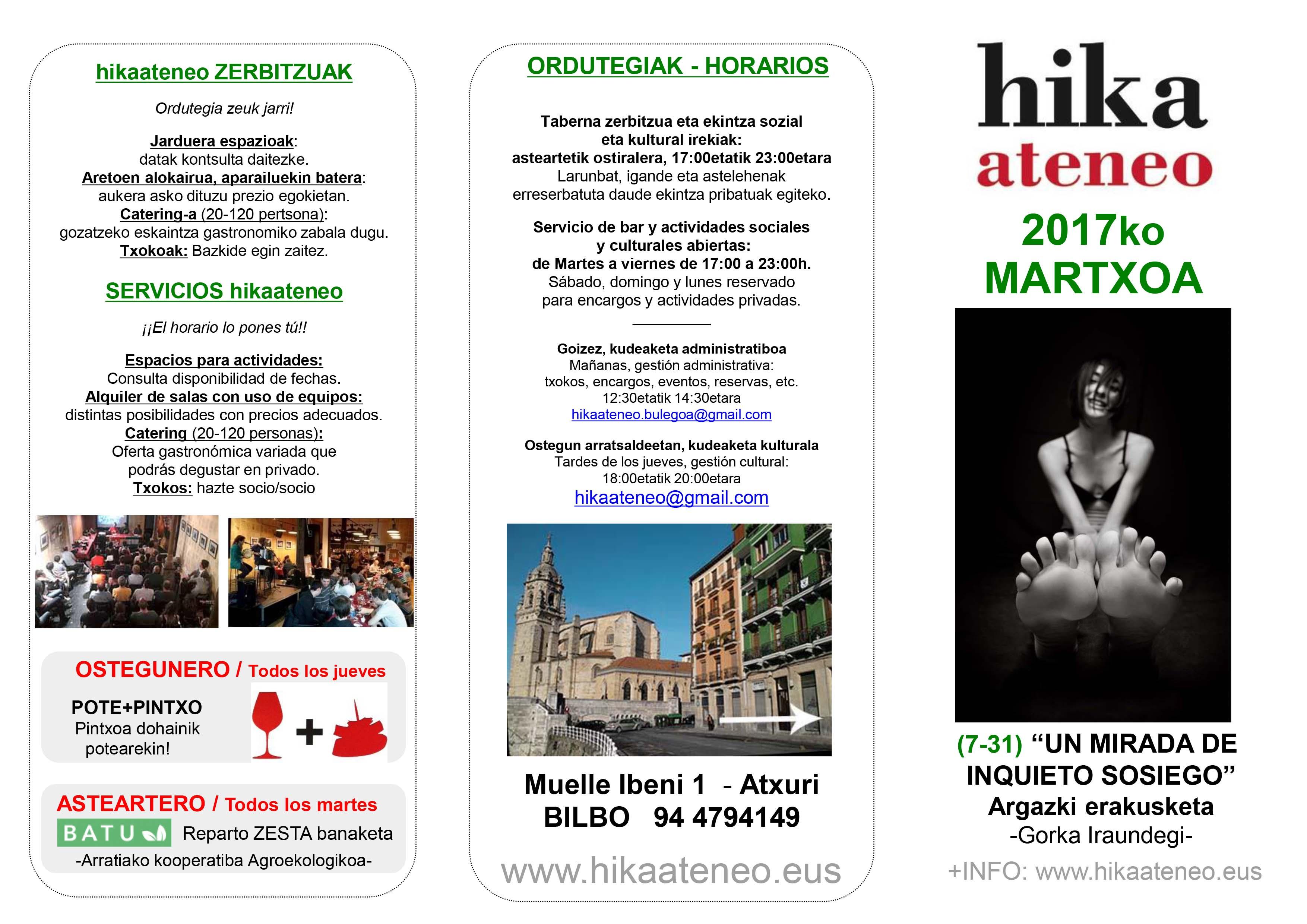 Agenda Hika Ateneo Bilbao Martxoak 2017 Marzo