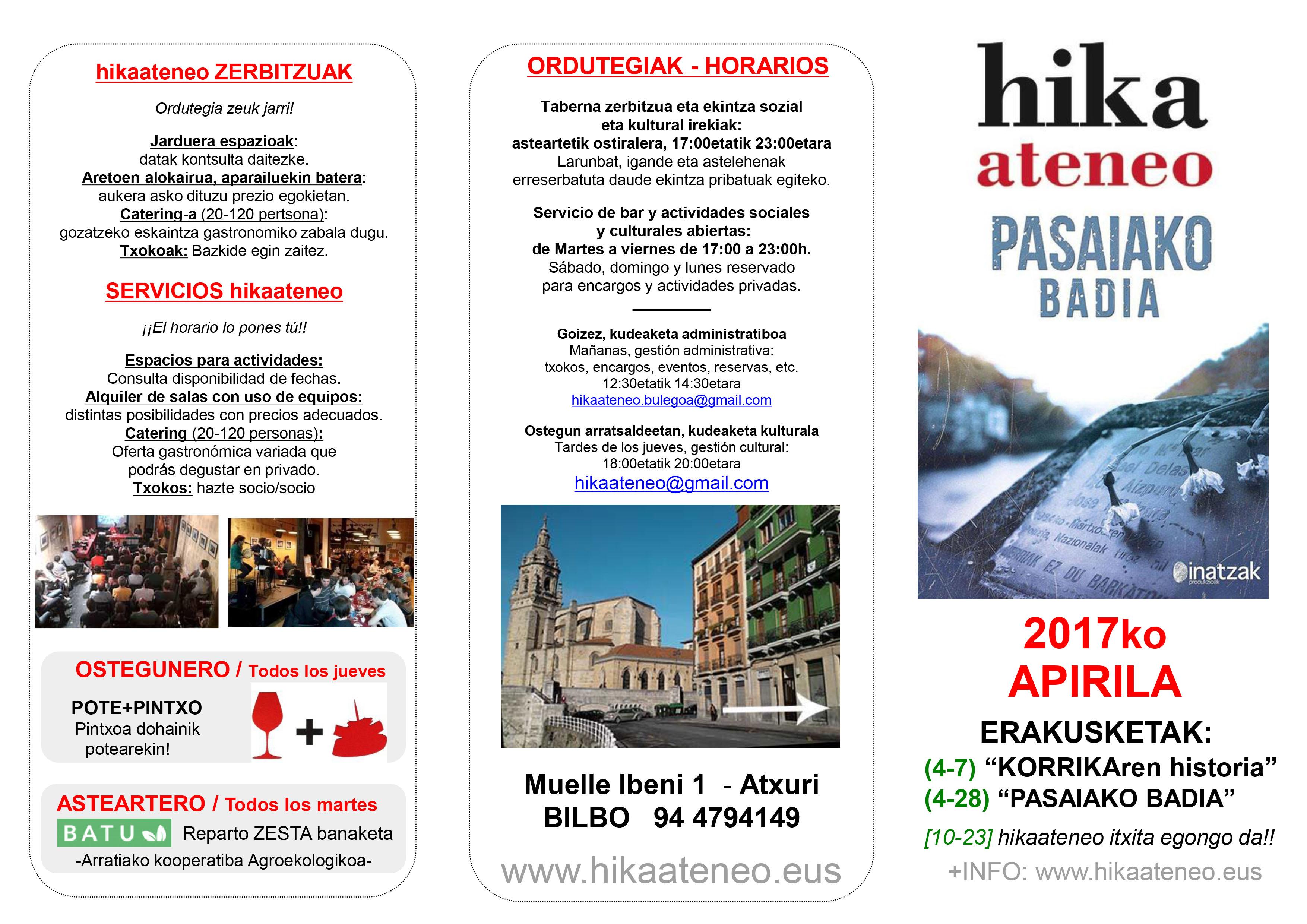 Agenda Hika Ateneo Bilbao Apirilak 2017 Abril