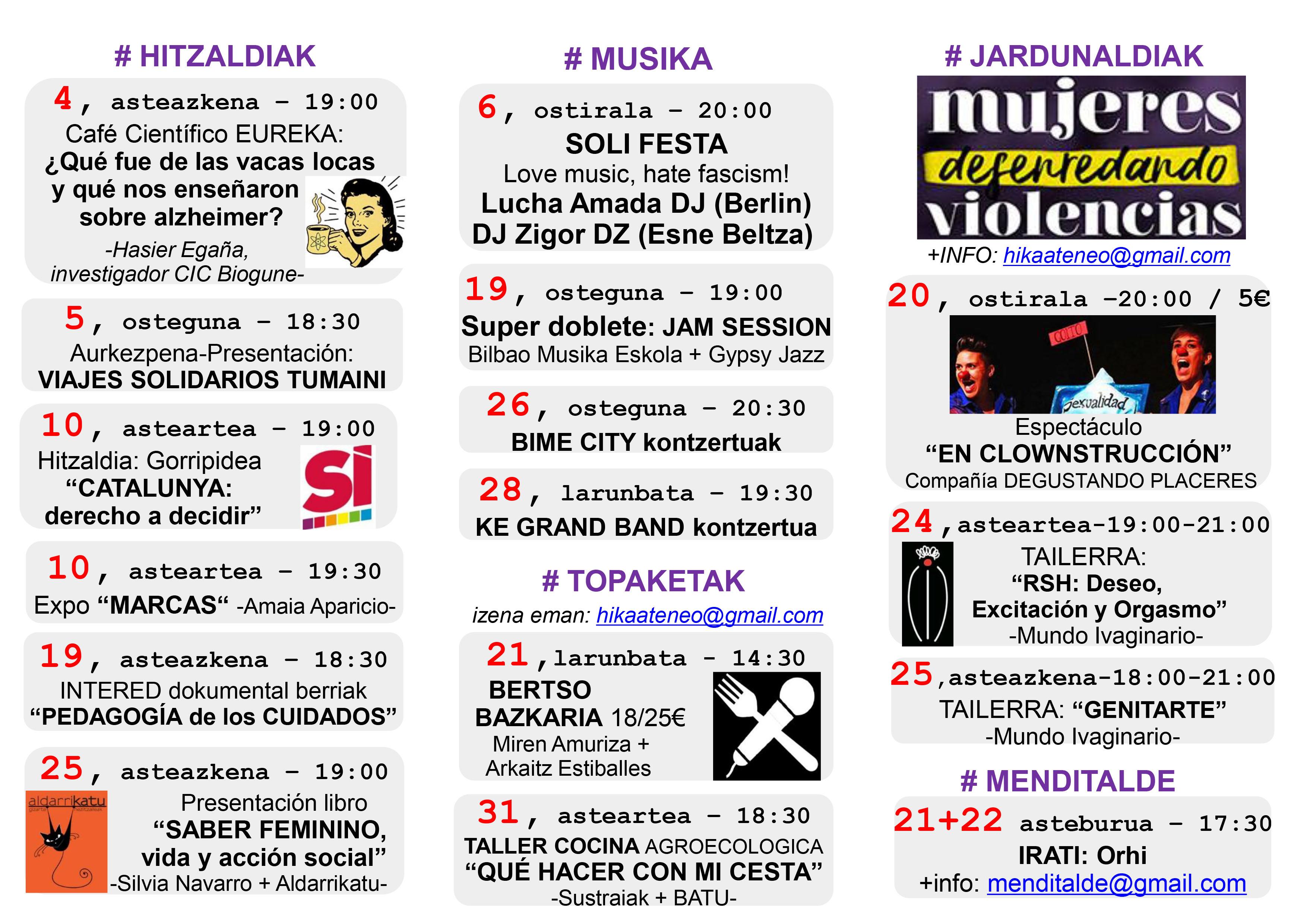 Agenda Hika Ateneo Bilbao Urria 2017 Octubre