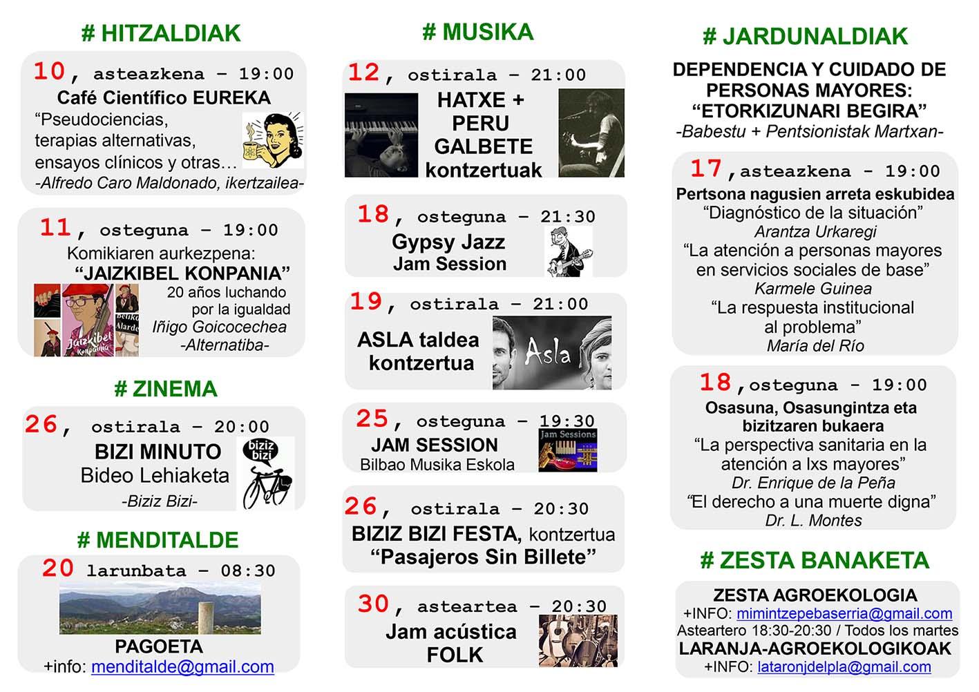 Agenda Hika Ateneo Bilbao Urtarrila 2018 Enero