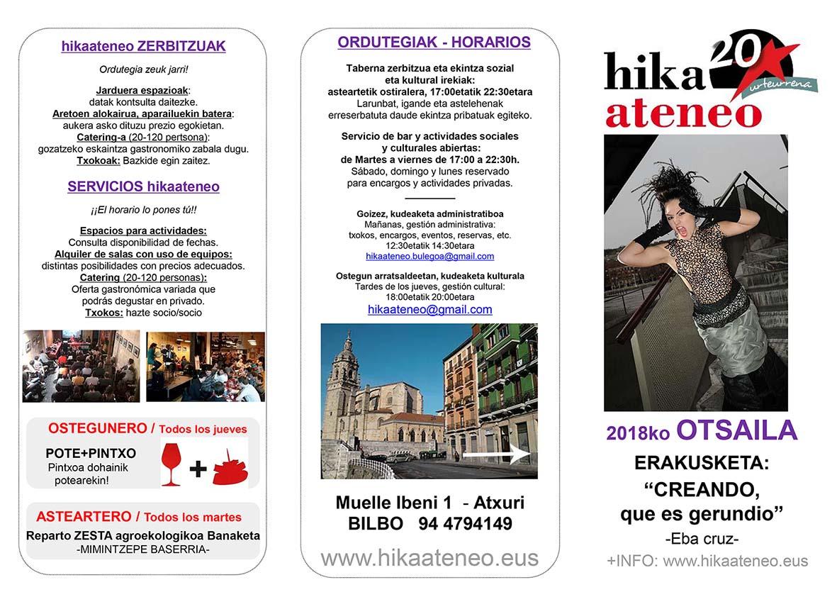 Agenda Hika Ateneo Bilbao Otsaila 2018 Febrero