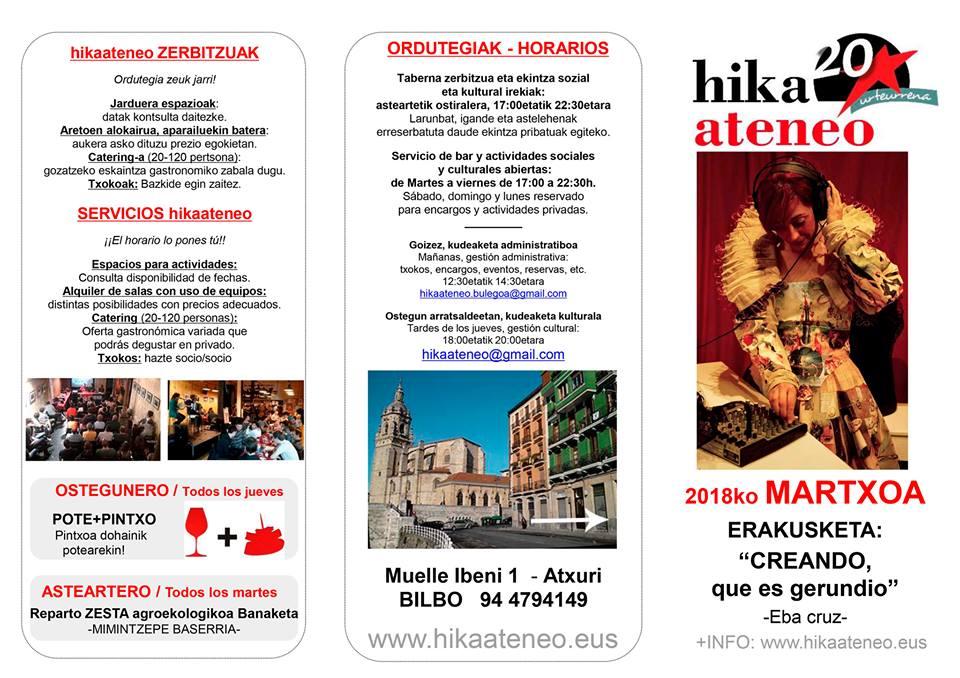 Agenda Hika Ateneo Bilbao Martxoa 2018 Marzo