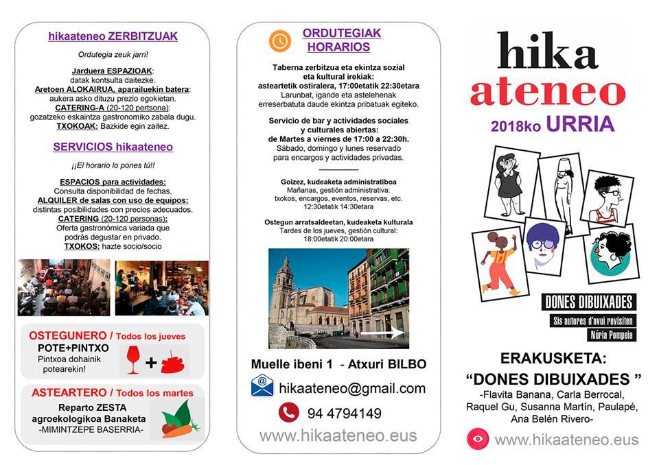 Agenda hikaateneo Bilbao Urria 2018 Octubre