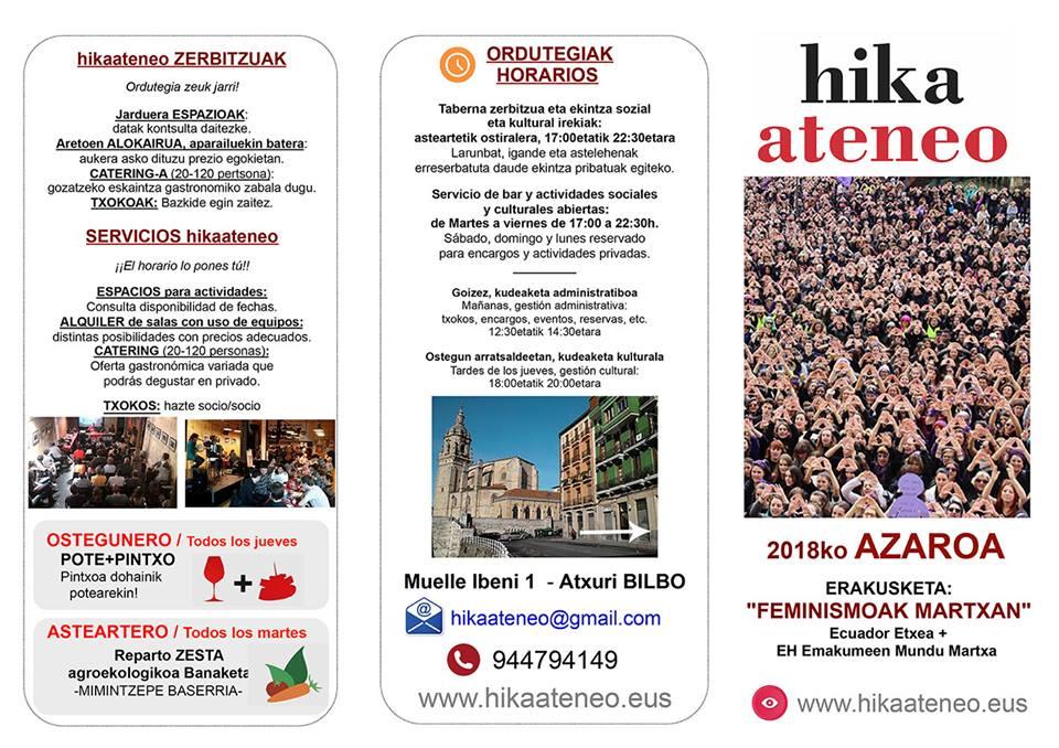 Agenda hikaateneo Bilbao Azaroa 2018 Noviembre